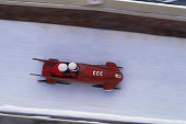 Russian two man bobsled team speeds through the bobsled course during the 1984 Winter Olympic Games in Sarajevo