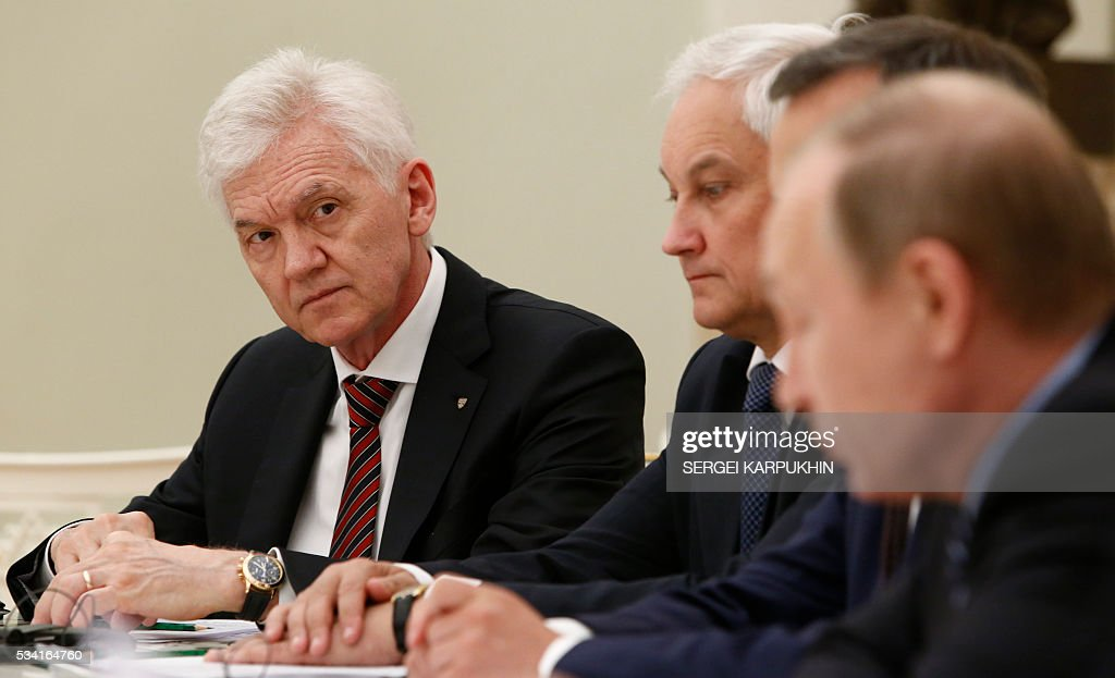 Russian tycoon Gennady Timchenko attends a meeting between Russian President and French businessmen at the Kremlin in Moscow on May 25, 2016. / AFP / POOL / SERGEI
