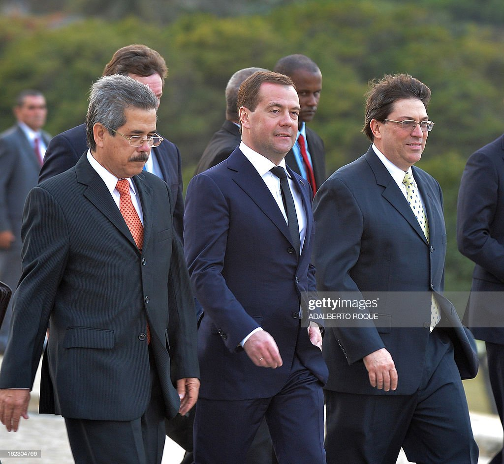 Russian Vice President Dmitri Medvedev (C) arrives at Revolution Square in Havana, on February 21, 2013. Medvedev is in Cuba in a three-day official visit.