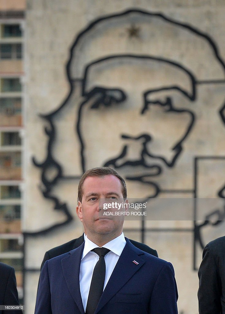 Russian Vice President Dmitri Medvedev during a ceremony at Revolution Square in Havana, on February 21, 2013. Medvedev is in Cuba in a three-day official visit. AFP PHOTO/ADALBERTO ROQUE