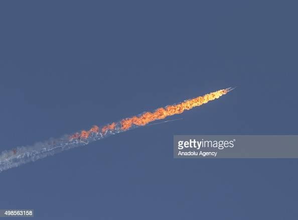 Russian warplane goes down in Syria's northwestern Turkmen town of Bayirbucak near Turkeys border on November 24 2015
