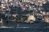 Russian warship the BSF Saratov 150 sails through the Bosphorus off Istanbul en route to the eastern Mediterranean sea on September 26 2015 AFP...