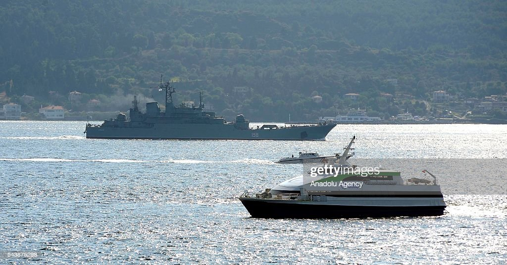 Russian warship 'Yamal' with bow number of 156 passes through Dardanelles, in Canakkale, Turkey on June 30, 2016.
