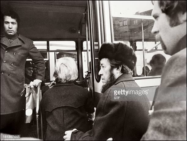 Russian writer and former Soviet dissident Alexandre Solzhenitsyn shown in a file photo dated 13 March 1974 boarding a bus in Zurich where he was...