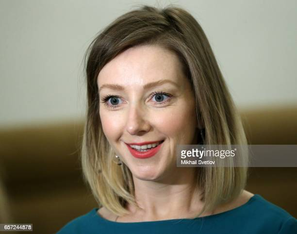 Russian writer Anstasia Orlova speaks ahead of the awards ceremony at the Kremlim on March 2017 in Moscow Russia has awarded 6 people including 6...