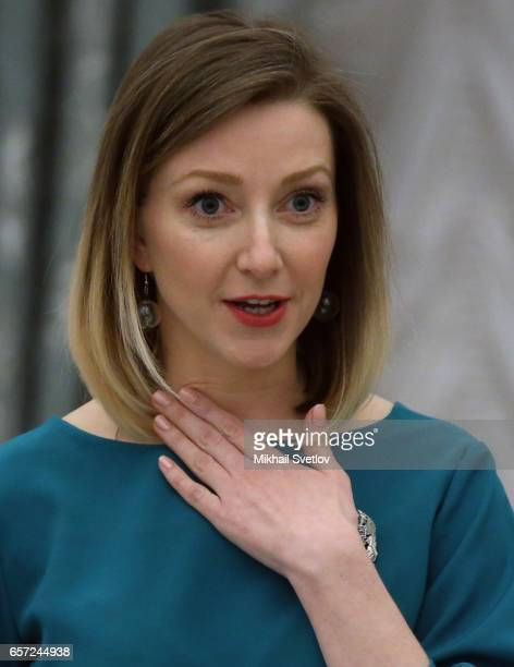 Russian writer Anstasia Orlova speaks during the awards ceremony at the Kremlim on March 2017 in Moscow Russia has awarded 6 people including 6...