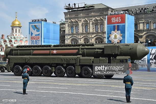 A Russian Yars RS24 intercontinental ballistic missile system drives during the Victory Day military parade at Red Square in Moscow on May 9 2015...