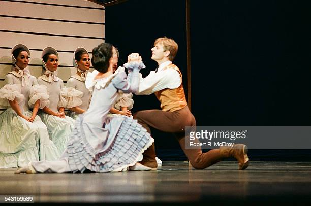 Russianborn American dancer Mikhail Baryshnikov and an unidentified woman perform in 'Appalachian Spring' at City Center New York New York October 6...