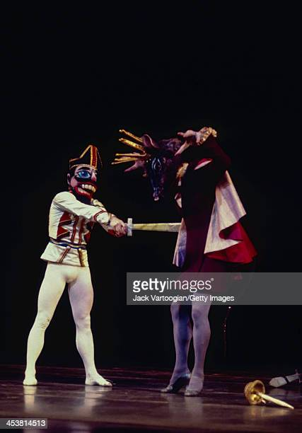 Russianborn American dancer Mikhail Baryshnikov fights the Mouse King during a performance of the American Ballet Theatre's production of...