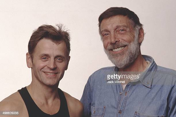 Russianborn American dancer Mikhail Baryshnikov poses with American choreographer Paul Taylor before a performance with Taylor's dance company...