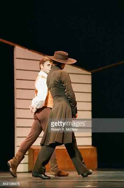 Russianborn dancer American Mikhail Baryshnikov and Russianborn French Rudolf Nureyev in 'Appalachian Spring' at City Center New York New York...