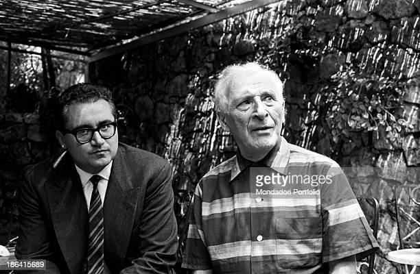 Russianborn French painter Marc Chagall sitting next to Italian journalist Guido Gerosa SaintPaul de Vence September 1967