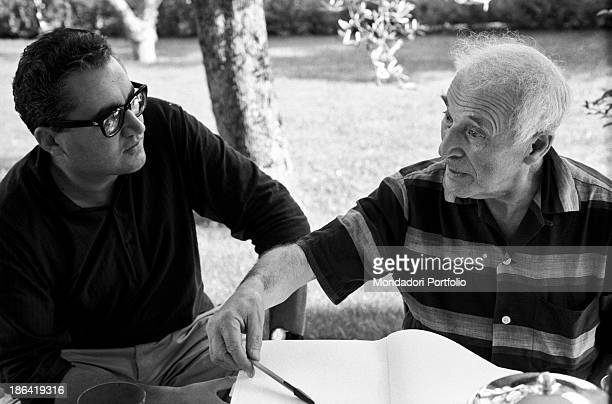 Russianborn French painter Marc Chagall talking with Italian journalist Guido Gerosa SaintPaul de Vence September 1967
