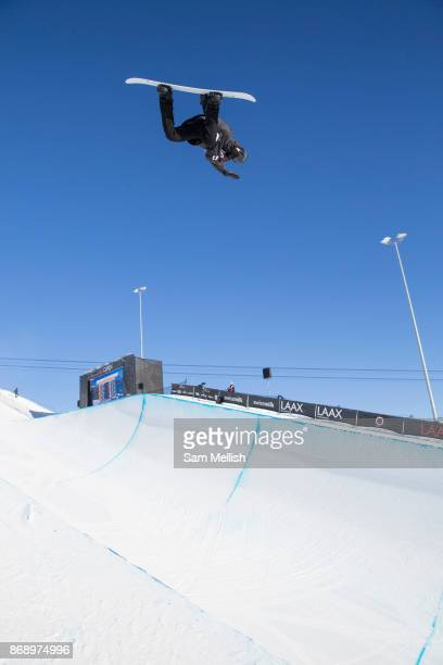 Russianborn Swiss pro snowboarder Louri Podladtchikov huge backside air during the 2017 Laax Open halfpipe competition on 19th January 2017 in Laax...