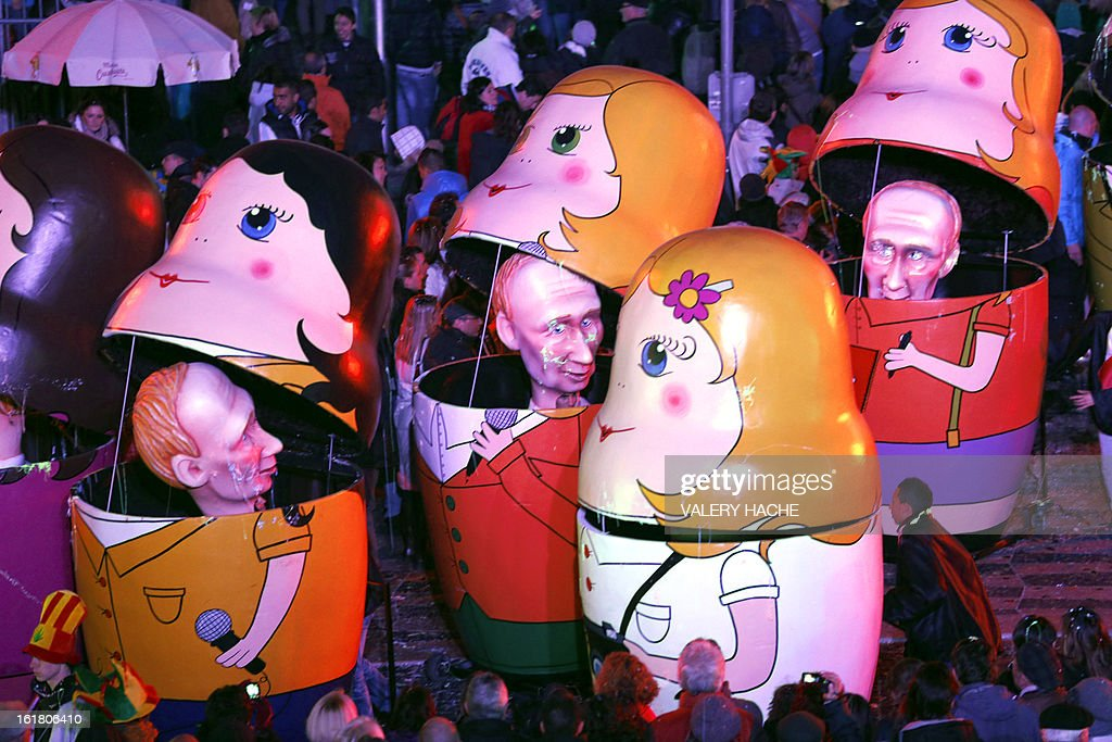 A Russian-inspired float, featuring Russian President Vladimir Putin, parades on February 16, 2013 during carnival in the southeastern French city of Nice. The carnival, which ends on March 6, celebrates the King of the Five Continents for its 140th anniversary.