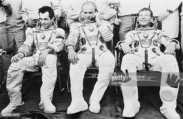 Russians cosmonauts Alexander Ivanchenkov Vladimir Dzhanibekov and French astronaut JeanLoup Chretien returning to Earth after a 7 day space mission...