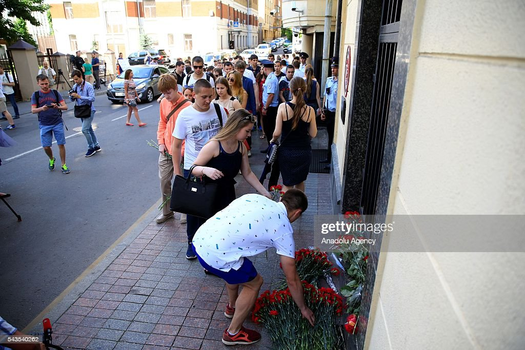 Russians leave flowers for the victims of the terrorist attack at Ataturk International Airport outside the Turkish Embassy in Moscow, Russia on June 29, 2016. The death toll in Istanbuls airport terror attack has risen to 41, the regional governors office said Wednesday.
