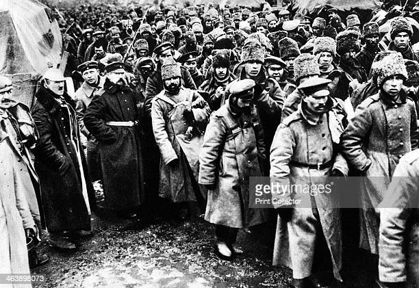 Russians taken prisoner by Germany on the Eastern front World War I 19141917 Among them are many Cossacks in their distinctive fur hats