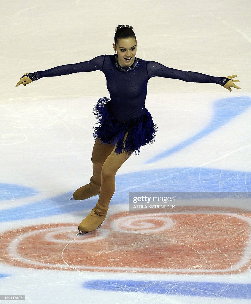 Russia's Adelina Sotnikova performs on January 26, 2013 at the 'Dom Sportova' sports hall in Zagreb, during the Women free skating event of the ISU European Figure Skating Championships. Italy's Carolina Kostner won the event and Sotnikova placed second.