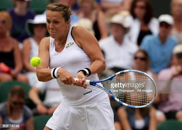 Russia's Agnieszka Pavlyuchenkova plays a shot during day six of the 2010 Wimbledon Championships at the All England Lawn Tennis Club Wimbledon