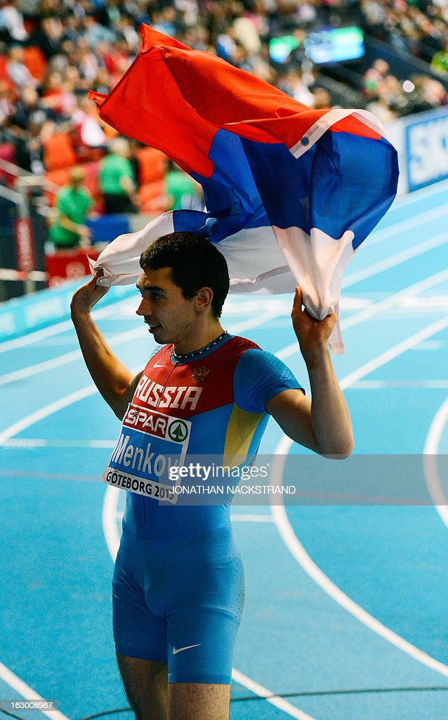 Russia's Aleksandr Menkov celebrates winning the Long Jump Men's Final at the European Indoor Athletics Championships in Gothenburg, Sweden, on March 3, 2013.
