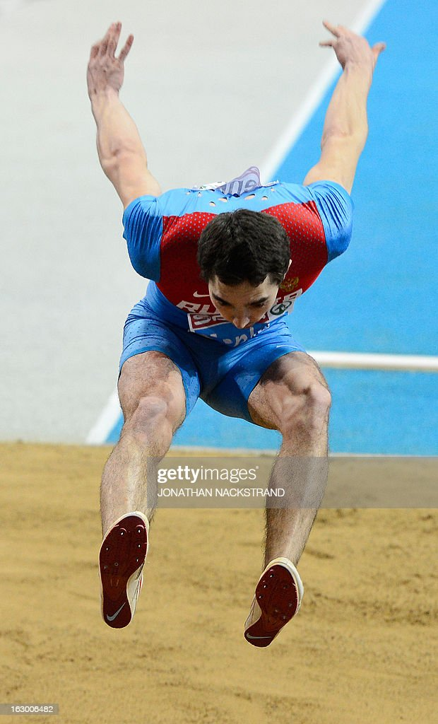 Russia's Aleksandr Menkov competes in the Long Jump Men's Final at the European Indoor Athletics Championships in Gothenburg, Sweden, on March 3, 2013.