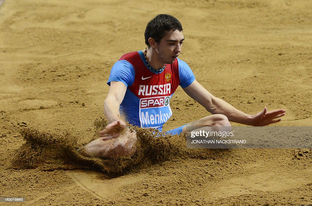 Russia's Aleksandr Menkov competes to win the Long Jump Men's Final at the European Indoor Athletics Championships in Gothenburg, Sweden, on March 3, 2013.