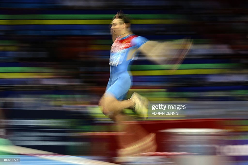 Russia's Aleksandr Menkov competes to win the Men's Long Jump final event at the European Indoor Athletics Championships in Gothenburg, Sweden, on March 3, 2013.