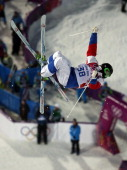 Russia's Aleksey Pavlenko competes in qualifying of the men's moguls at Rosa Khutor Extreme Park during the Winter Olympics in Sochi Russia Monday...