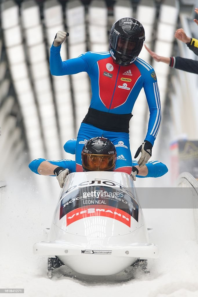 Russia's Alexander Kasjanov takes the joint bronze medal at the 4-man Bobsleigh event at the FIBT Bob & Skeleton World Cup at the Sanki Sliding Centre, some 50 km from Russia's Black Sea resort of Sochi, on February 17, 2013. Russia's Alexander Zubkov also came joint third but won the overall championship. With a year to go until the Sochi 2014 Winter Games, construction work continues as tests events and World Championship competitions are underway.