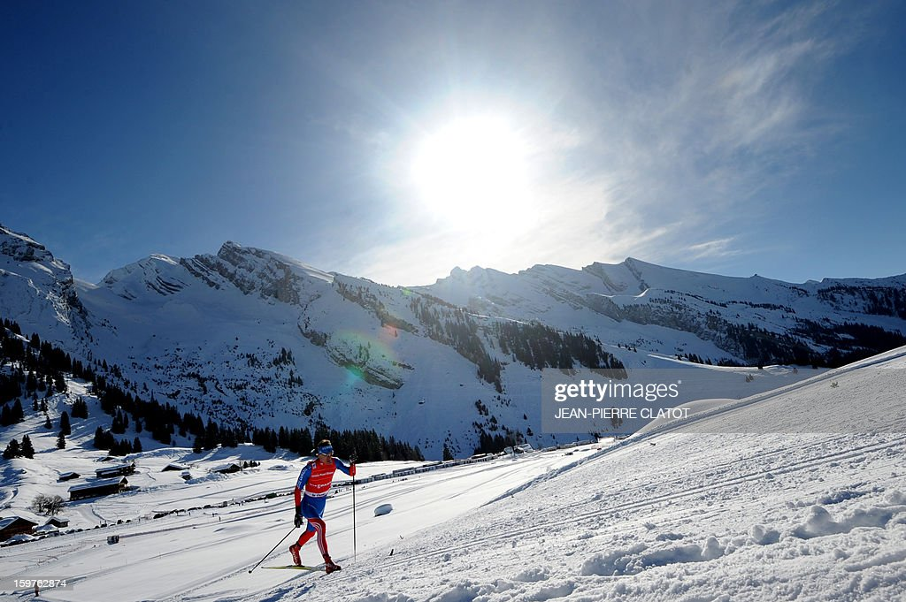 Russia's Alexander Legkov competes in the Nordic skiing combined World Cup relay (4 x 7,5 km) on January 20, 2013 in La Clusaz, eastern France.