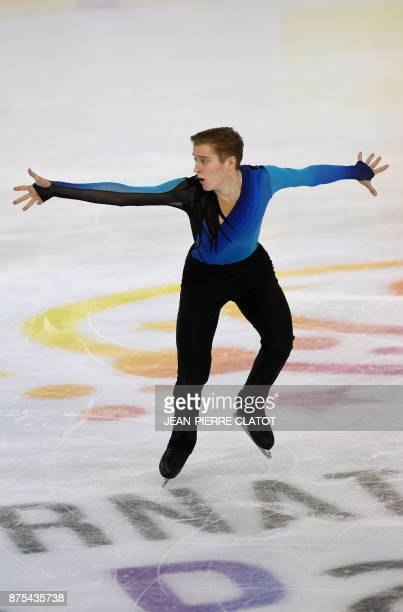 Russia's Alexander Samarin performs a routine during the men's short programme for an event of the Internationaux de France ISU Grand Prix of Figure...
