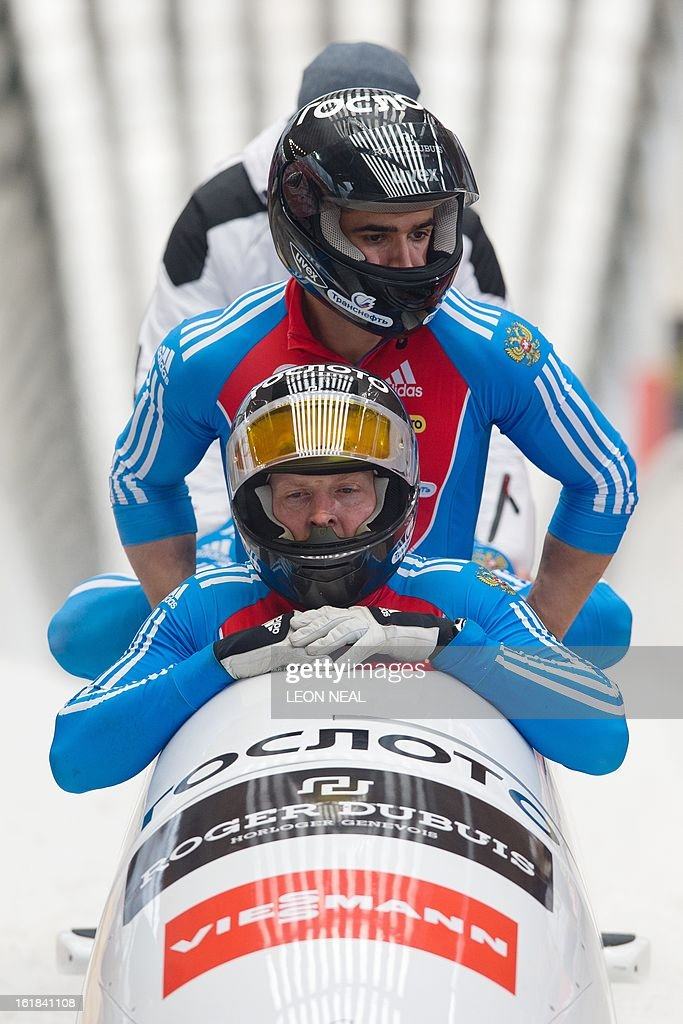 Russia's Alexander Zubkov takes the joint bronze medal at the 4-man Bobsleigh event at the FIBT Bob & Skeleton World Cup at the Sanki Sliding Centre, some 50 km from Russia's Black Sea resort of Sochi, on February 17, 2013. Zubkov also won the overall championship. With a year to go until the Sochi 2014 Winter Games, construction work continues as tests events and World Championship competitions are underway.