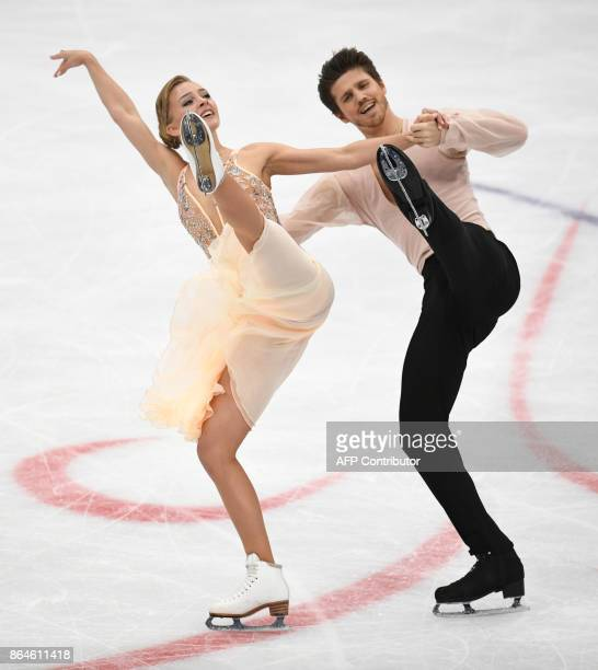 Russia's Alexandra Stepanova and Ivan Bukin compete in the Ice Dance free dance at the ISU Grand Prix Rostelecom Cup in Moscow on October 21 2017 /...