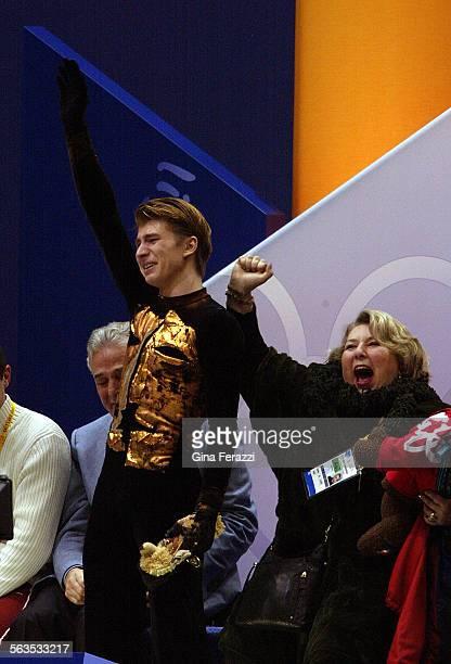 Russia's Alexei Yagudin who won the Gold Medal in the Men's Free skate program in Salt Lake City Utah on Thursday Februray 14 celebrates with his...