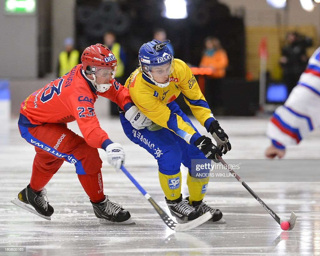 Russia's Alexey Bushuev and Sweden's Erik Saefstroem vie during the Bandy World Championship final match Sweden vs Russia in Vanersborg, Sweden, February 3, 2013.