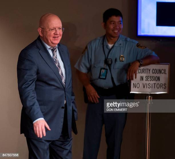 Russia's Ambassador to the United Nations Vasily Nebenzya arrives for a Security Council meeting on North Korea on September 15 at the United Nations...
