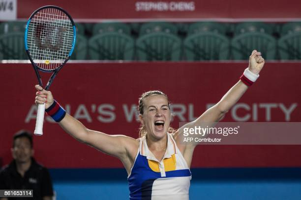 Russia's Anastasia Pavlyuchenkova celebrates victory against Australia's Daria Gavrilova during the women's singles final at the Hong Kong Open...