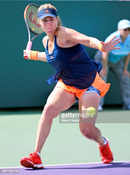 Russia's Anastasia Pavlyuchenkova hits to the United States' Bethanie MattekSands in the third round of the Miami Open at Crandon Park in Key...