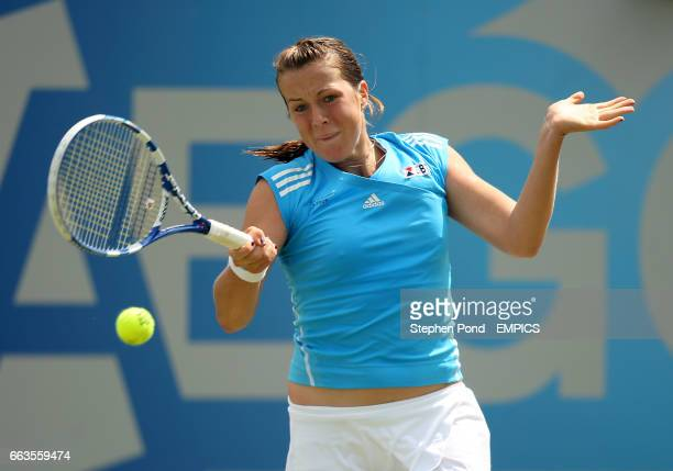 Russia's Anastasia Pavlyuchenkova in action against Great Britain's Elena Baltacha during their second round match