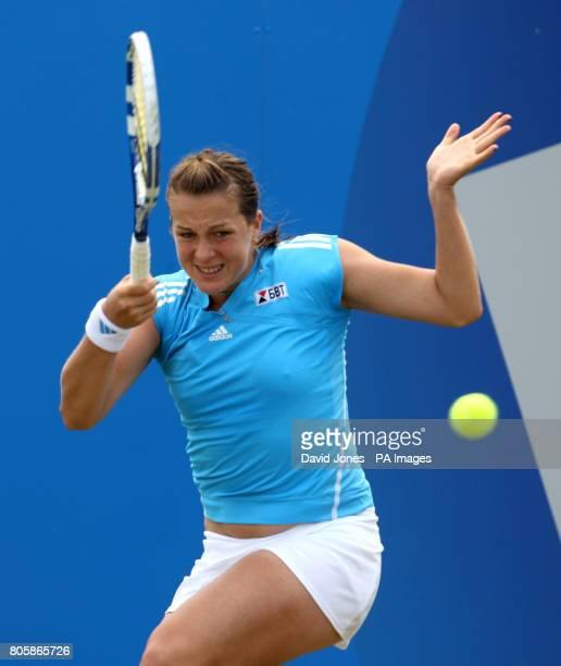 Russia's Anastasia Pavlyuchenkova in action against Great Britain's Elena Baltacha