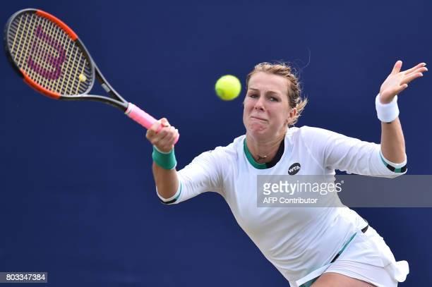Russia's Anastasia Pavlyuchenkova returns to Britain's Heather Watson during their women's singles third round tennis match at the ATP Aegon...