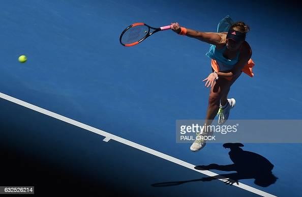 TOPSHOT Russia's Anastasia Pavlyuchenkova serves against Venus Williams of the US during their women's singles quarterfinal match on day nine of the...