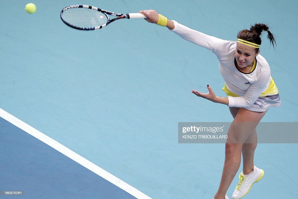 Russia's Anastasia Pavlyuchenkova serves to Belgium's Yanina Wickmayer at the 21st edition of the Paris WTA Open on January 30, 2013.