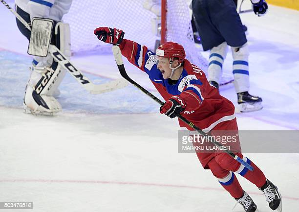 Russia's Andrei Svetlakov celebrates a 33 goal which he made 8 seconds before the end of the normal play time during the 2016 IIHF World Junior Ice...