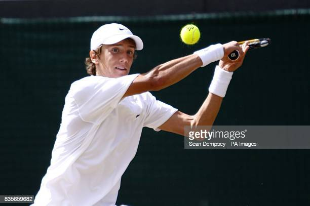 Russia's Andrey Kuznetsov in action against USA's Jordan Cox in the Boy's Singles Final during the Wimbledon Championships 2009 at the All England...