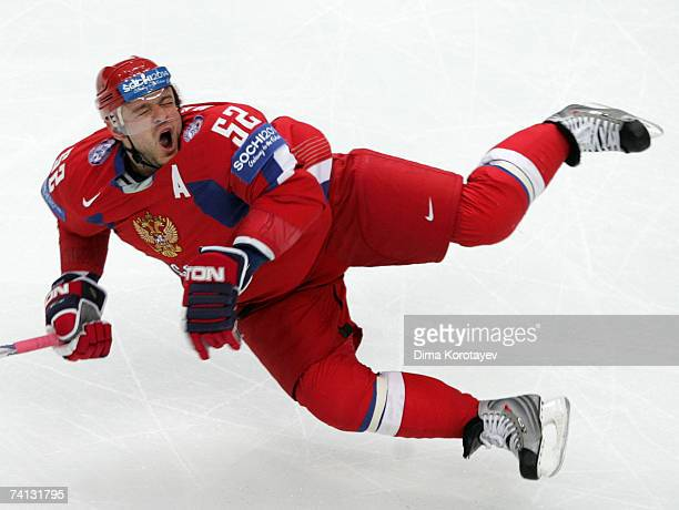 Russia's Andrey Markov in action during the IIHF World Ice Hockey Championship semifinal match between Russia and Finland at the Chodynka Arena on...