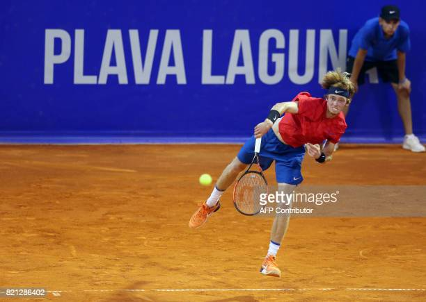 Russia's Andrey Rublev serves the ball during the Umag 2017 ATP 250 tennis final match between Russia's Andrey Rublev and Italia's Paolo Lorenzi in...