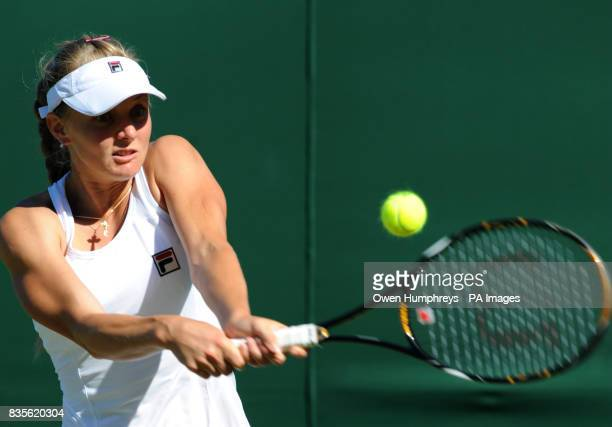 Russia's Anna Chakvetadze in action against Sabine Lisicki of Germany during the 2009 Wimbledon Championships at the All England Lawn Tennis and...