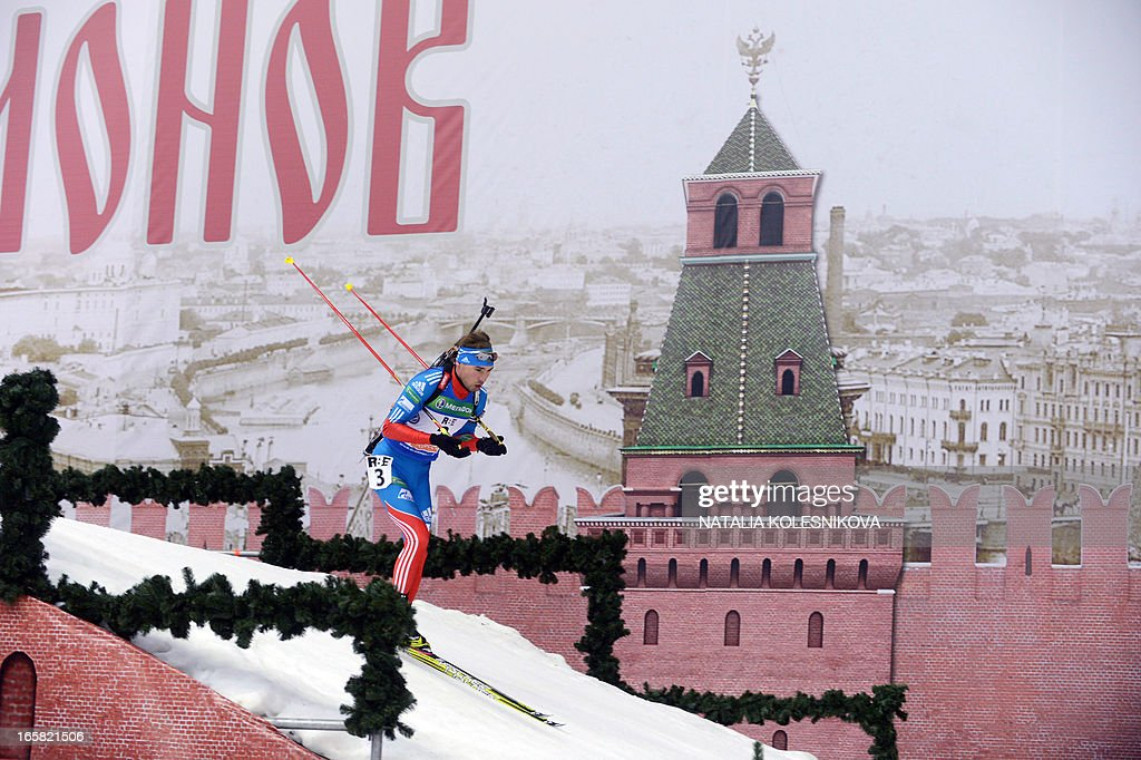 Russia's Anton Shipulin competes on April 6, 2013 in the men's biathlon mass start during the Champion's Race in Moscow. Shipulin took the first place.